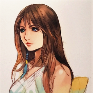 Yuna (colored) shown at the Final Fantasy 30th Anniversary exhibition.
