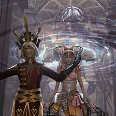 Vanille stands beside the high priestess as she preaches the Soulsong.