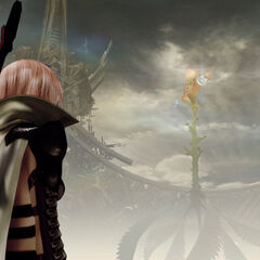 Lightning looks at Yggdrasil.