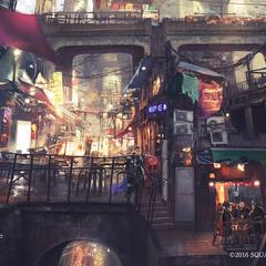 Concept art of the slums.