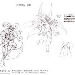 Concept art of original outfit and EX Mode.