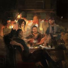 Arte conceitual de Crowe, Nyx e Libertus em um bar.