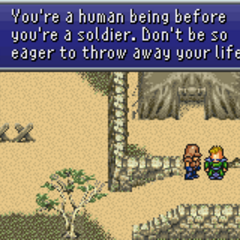 Leo telling the same soldier to take care of himself (GBA).