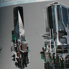 Concept art of the buildings in Academia.