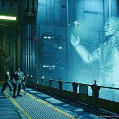 The president appearing as a hologram to the party in <i>Remake</i>.