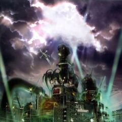 Midgar artwork in <i>Crisis Core</i>.