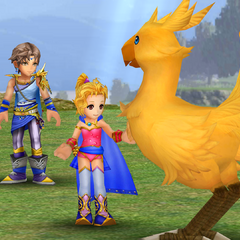 Krile talking to a chocobo.