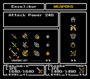 FFMQ Weapons Menu