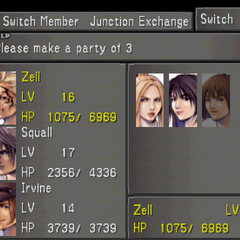 <i>Final Fantasy VIII</i> party selection screen.