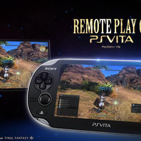 Anúncio da Sony para a funcionalidade Remote Play permitindo jogar <i>Final Fantasy XIV: A Realm Reborn</i> no PS Vita.