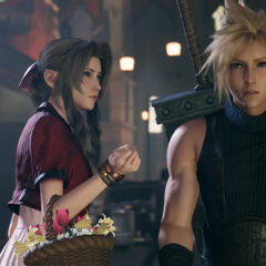 Aerith offers Cloud a flower.