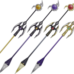 The Emperor's staff designs in his three outfits.