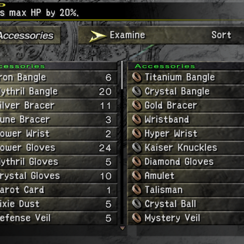 The Accessories menu (PS2).