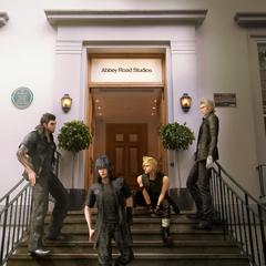 Ноктис, Игнис, Гладиолус и Промпто у Abbey Road Studios.