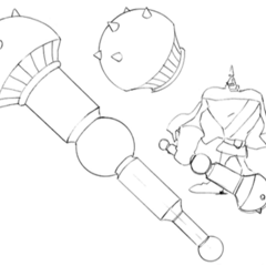 Concept of giant form with weapon.