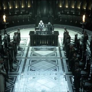 Os líderes de Niflheim (esquerda) e Lucis (direita) se encontram.