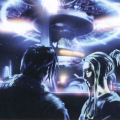 Concept artwork of Squall and Quistis in Training Center secret area.