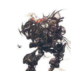 Yoshitaka Amano artwork of Terra riding Magitek Armor.