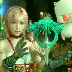 Serah with an Artifact.