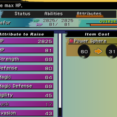 Aeon Attributes menu (PS2).