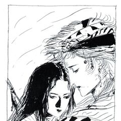 Firion with Maria in <i>Final Fantasy II Muma no Meikyū</i>.