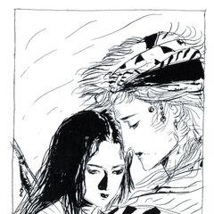 Firion com Maria em <i>Final Fantasy II Muma no Meikyū</i>.