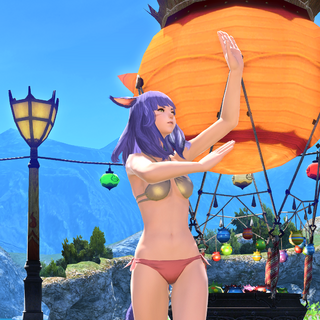 A dancing miqo'te during the 2019 edition of <a href=