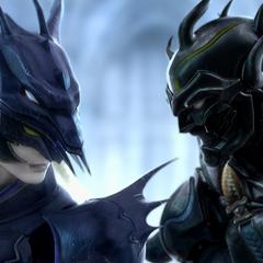 Kain enfrentando Cecil durante a abertura (PC).