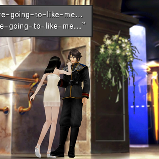 Rinoa trying to hypnotize Squall.