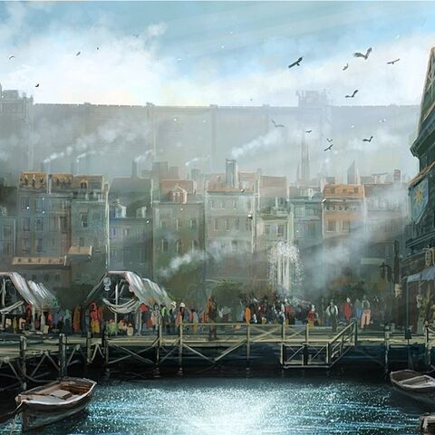 Concept art of Western Adoulin's waterfront.