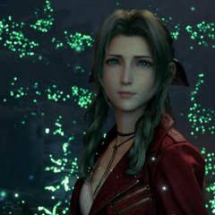 Aerith talks to Cloud in a vision.