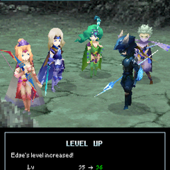 Level up pose in <i>Final Fantasy IV</i> (DS).