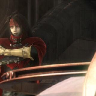 Vincent abordo do <i>Shera</i> em <i>Final Fantasy VII: Advent Children Complete</i>.