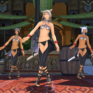 Dancing miqo'te's in Ul'dah.