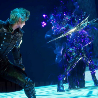Prompto uses Star of the Rogue against a boss.