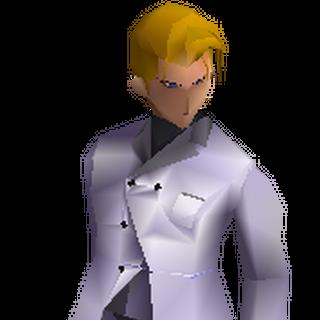Modelo de batalha de Rufus em <i>Final Fantasy VII</i>.