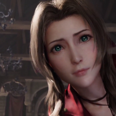 Aerith looking down at her visitor in the <a href=