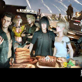 Обои в честь второй годовщины игры, где основные персонажи изображены на крыше Caelum Via.