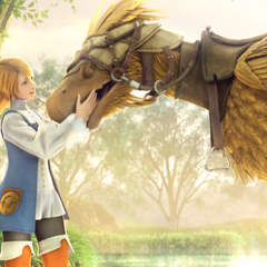 Refia and a chocobo from the opening FMV (PC).