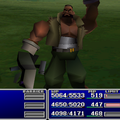Barret using an item on an ally.