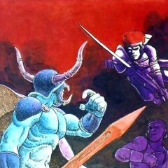 Arte de Garland lutando contra os Guerreiros da Luz, da revista <i>Nintendo Power</i>.