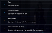 Icons for FFXV fishing minigame from the menu guide