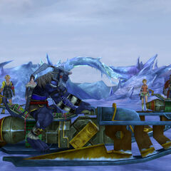 Kimahri riding a snowmobile in <i>Final Fantasy X</i>.