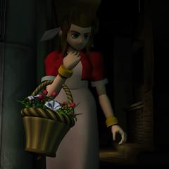 Аэрис во вступительном FMV в <i>Final Fantasy VII</i>.