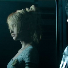 Noctis has Luna's reflection on a window.