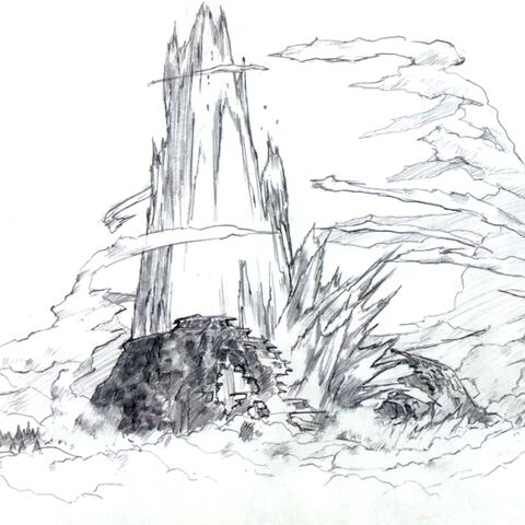 Concept art for Lifestream erupting from the crater.