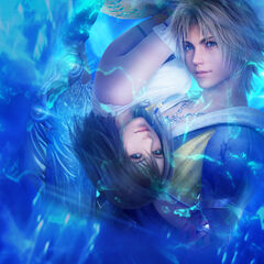 Promotional artwork of Tidus and Yuna.
