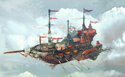 Airship cutscene concept for Final Fantasy III 3D