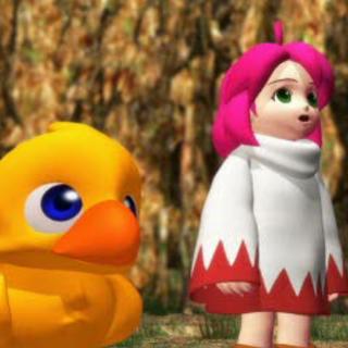 Shiroma con un chocobo en una FMV de <i>Chocobo's Dungeon 2</i>.