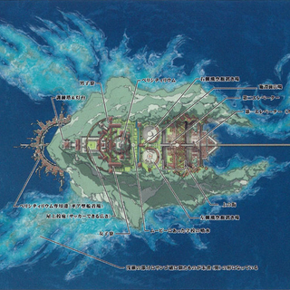 Concept art showing the shape of the Vermilion Bird on the island of Akademeia.